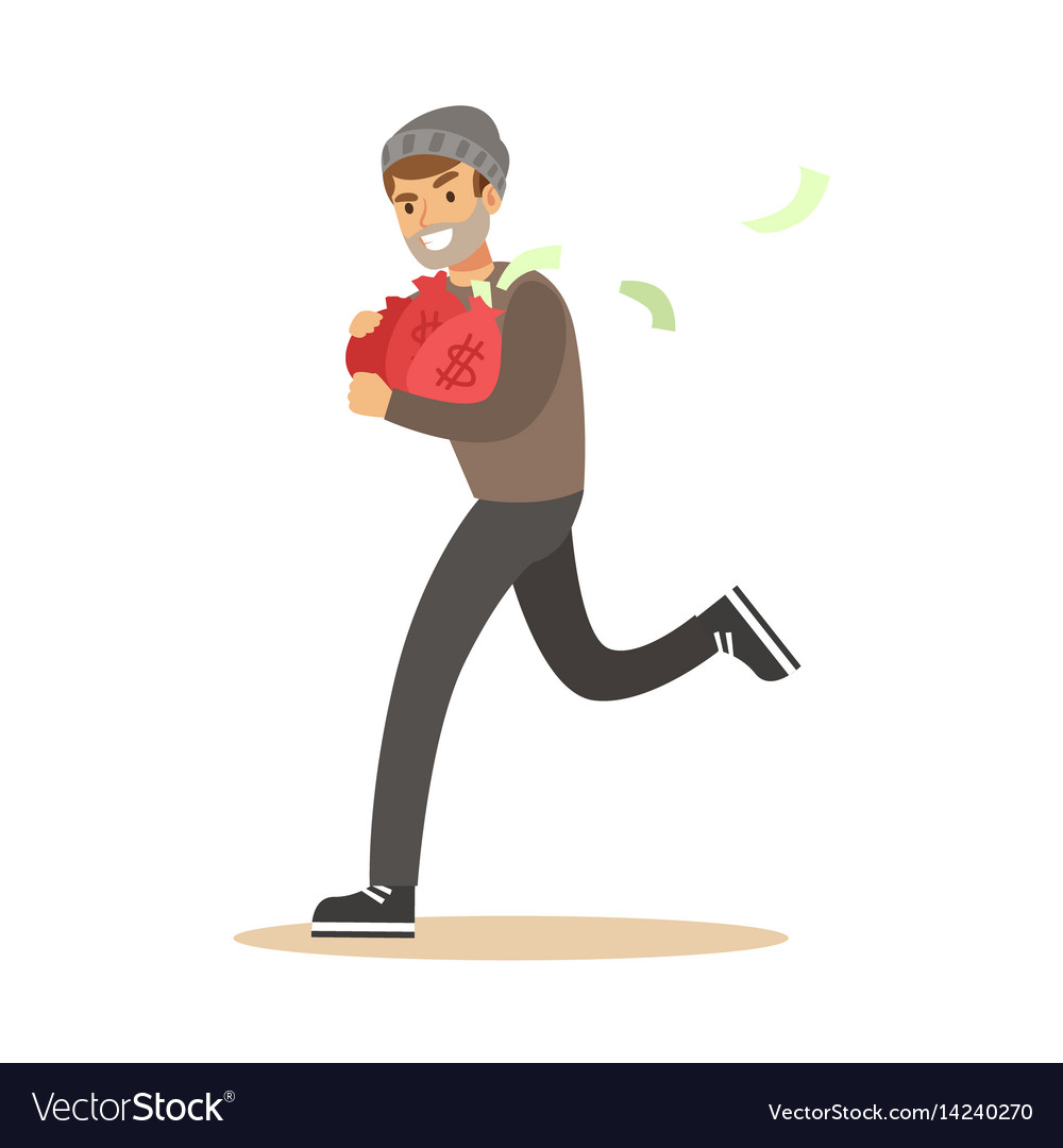 Robber in mask running with red money bags vector image