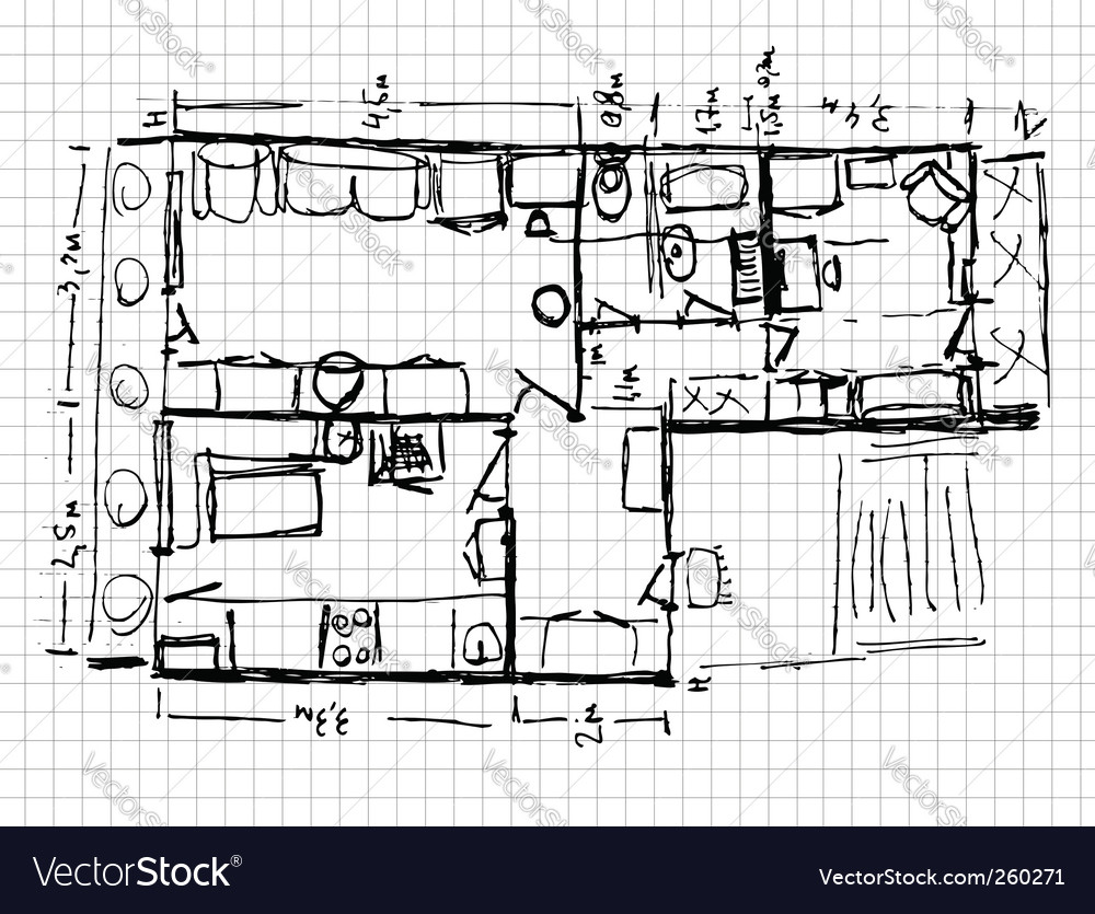 Apartment renovation sketch royalty free vector image for Traumhaus grundriss