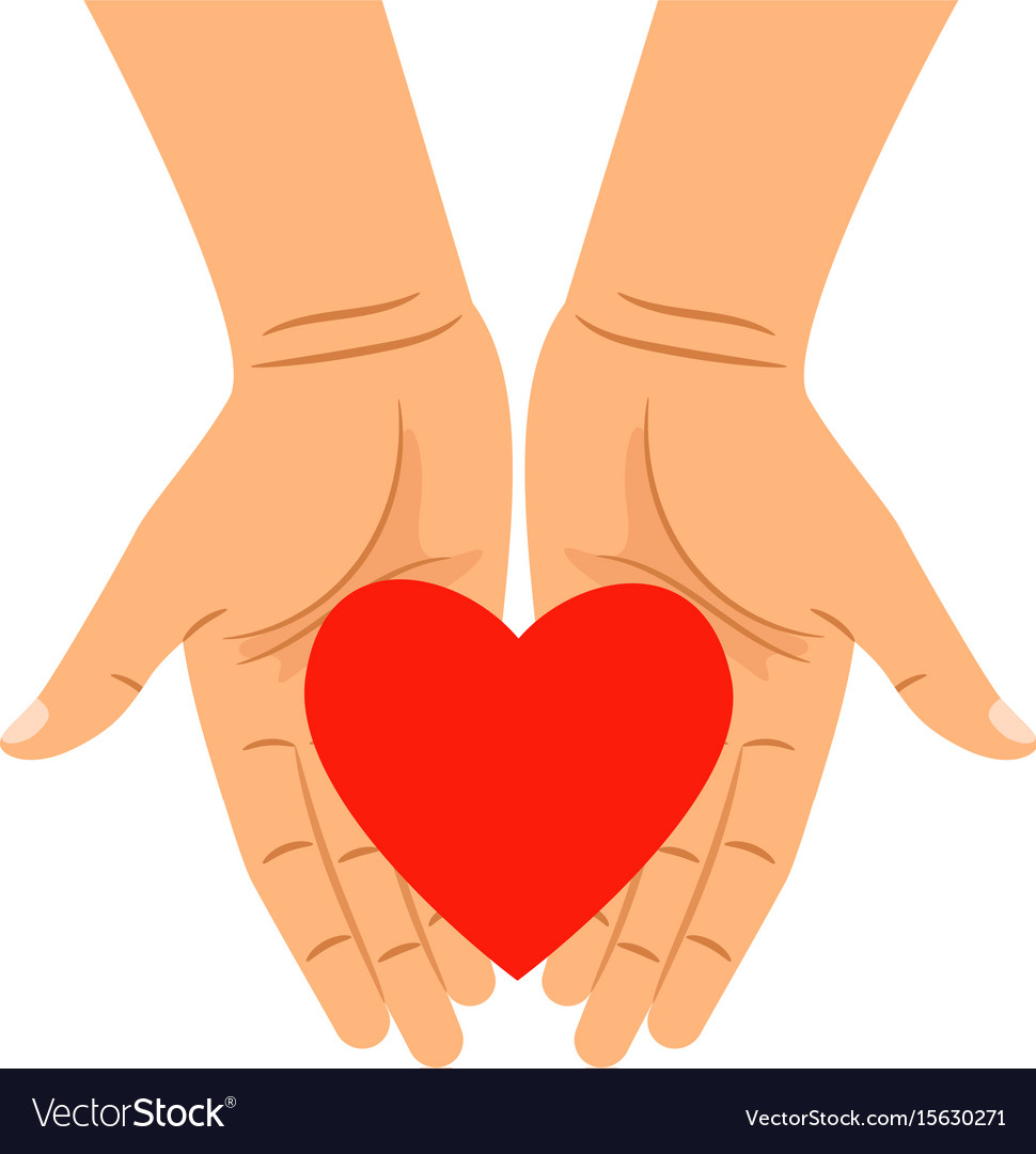 Hearts shape in outstretched hands vector image