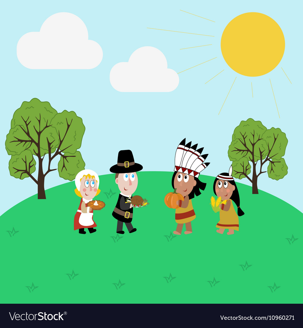 Pilgrims and indians vector image