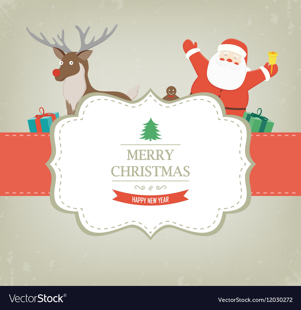 christmas card with santa claus and reindeer vector image - Santa Claus Christmas Cards