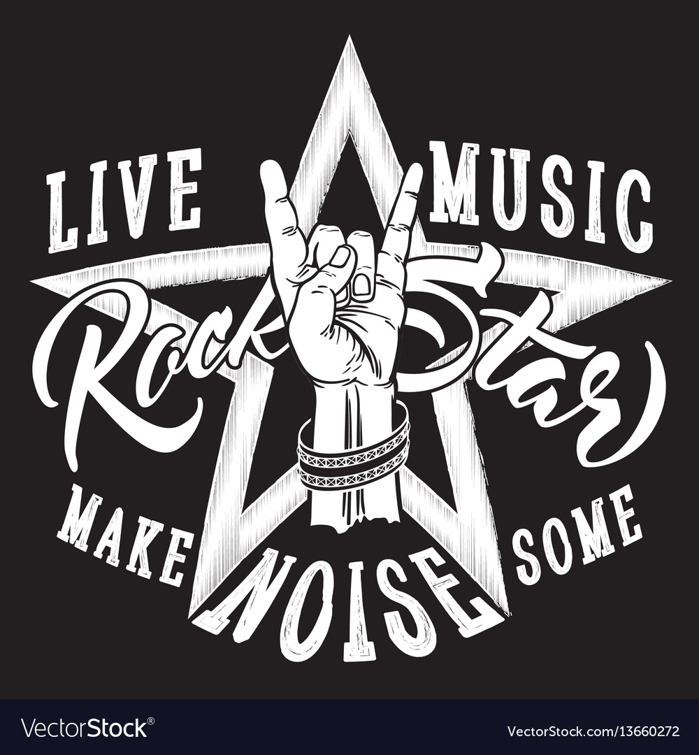 Rock and roll hand sign with rock star inscription vector image