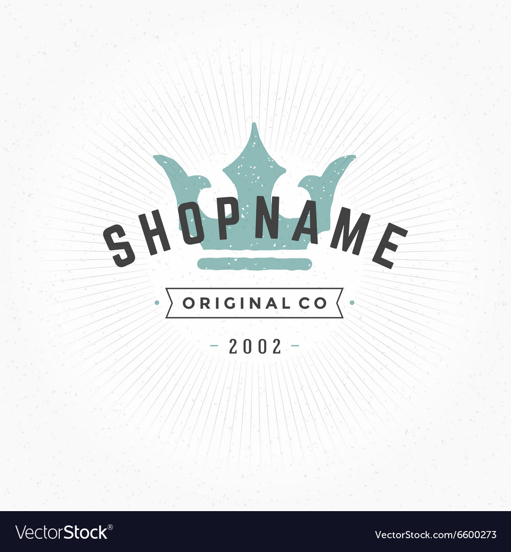 Hand drawn King Crown Logo Vintage Style for vector image