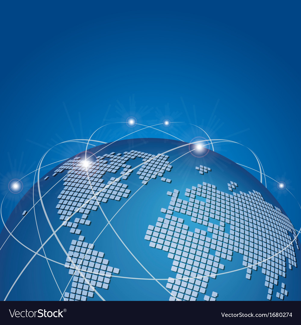 Global technology mesh network vector image