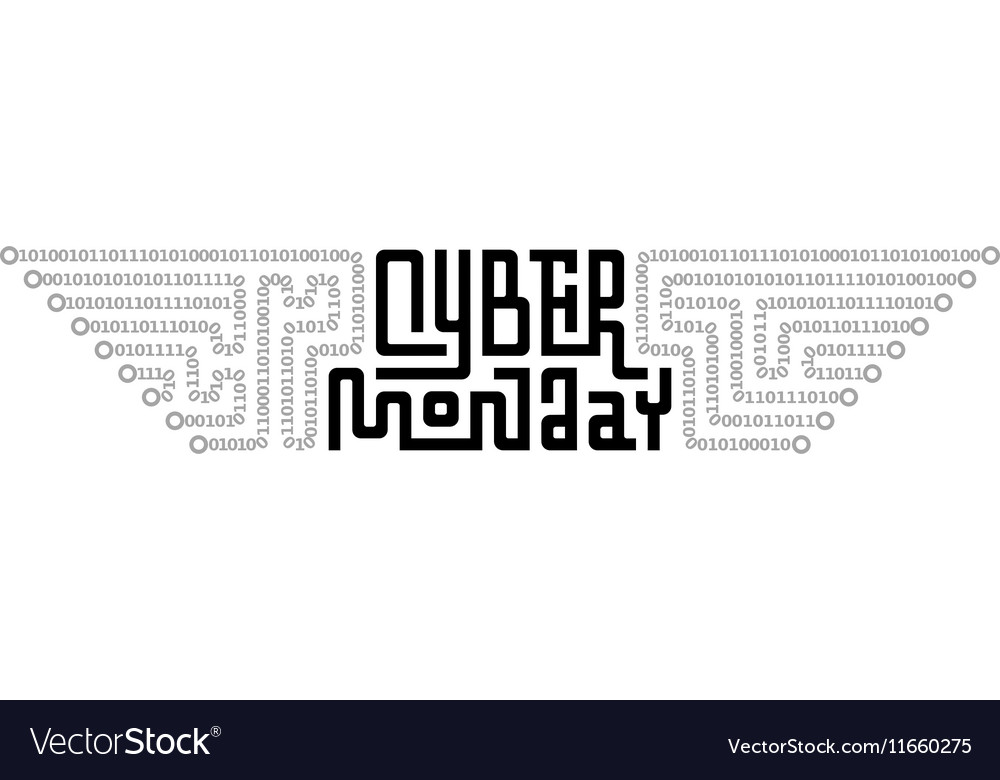 Cyber Monday Lettering with Circuit Board consist vector image