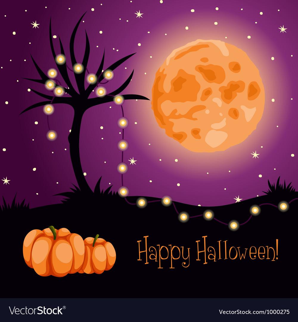 Halloween moon tree lights vector image