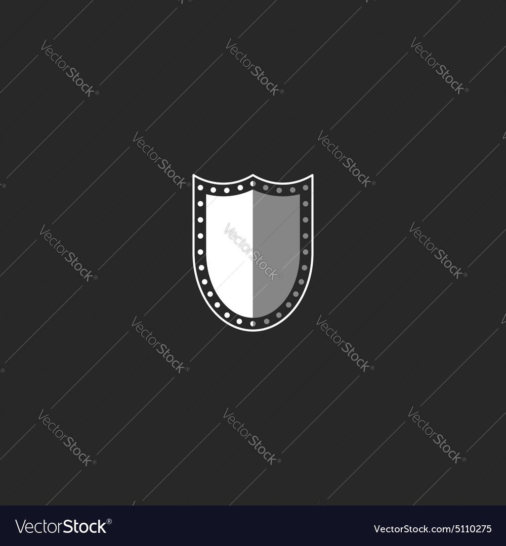Shield logo black and white symbol mockup security vector image