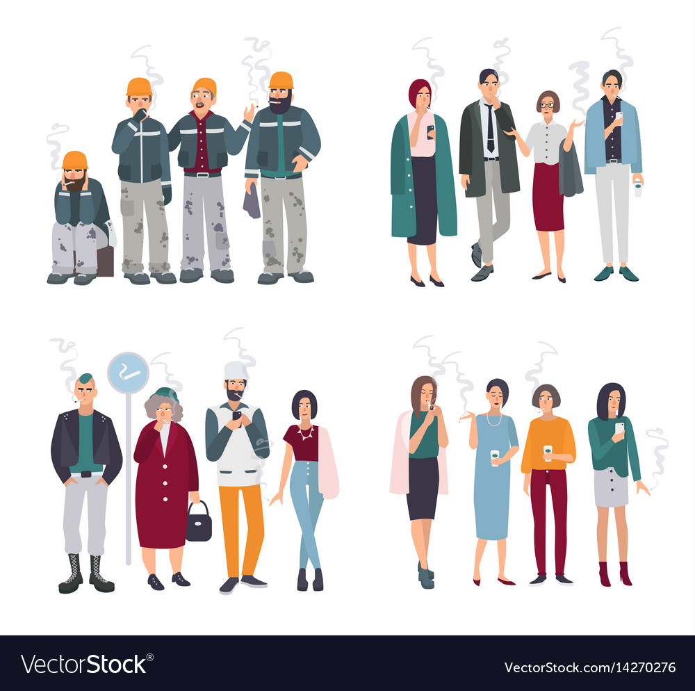 Set of smoking room different people on smoke vector image