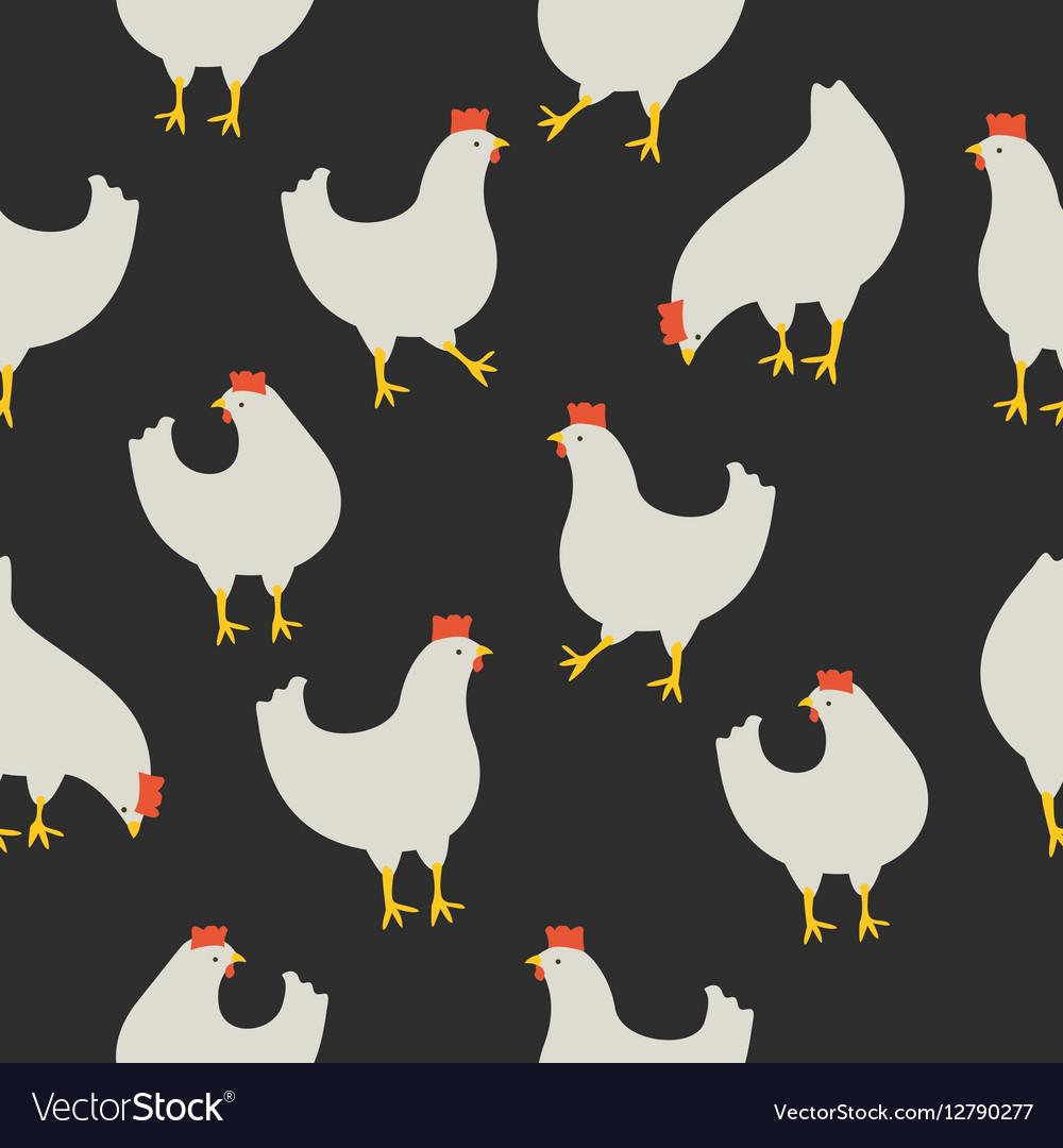 Chicken pattern dark grey vector image