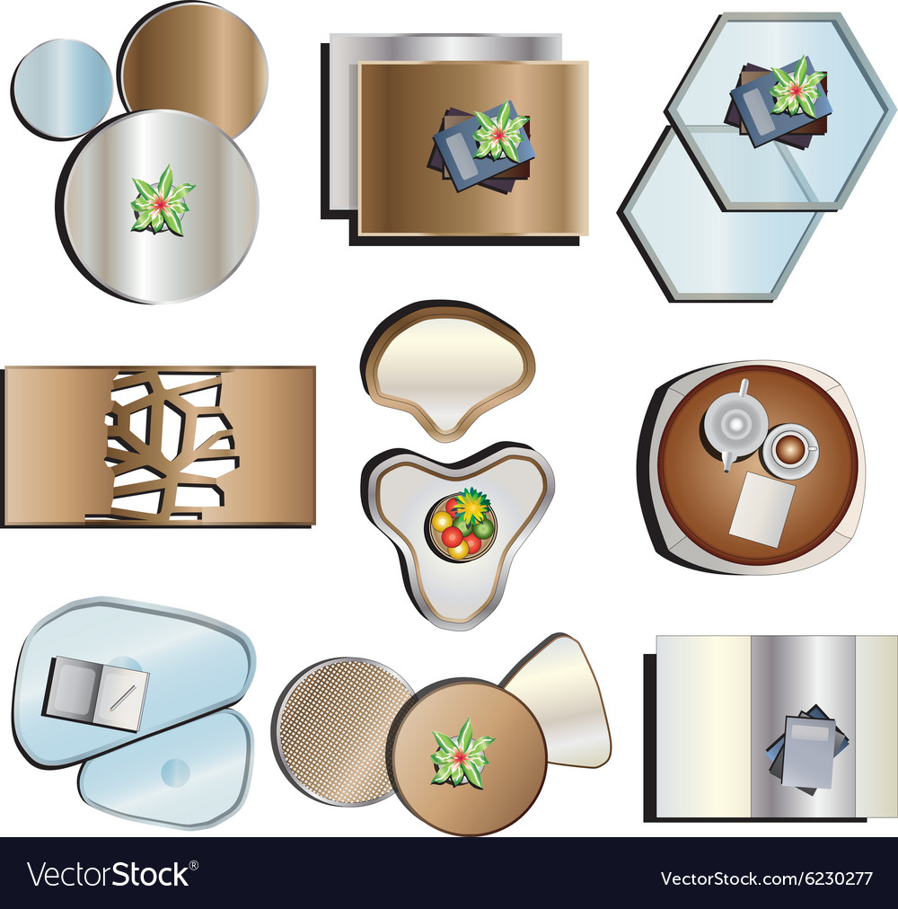 table top view. Coffee Table Top View Set 2 Vector Image E