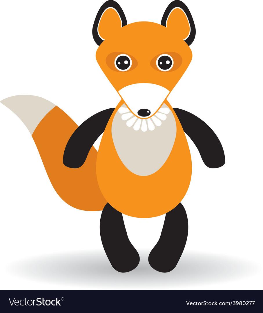 Cute cartoon fox on white background vector image