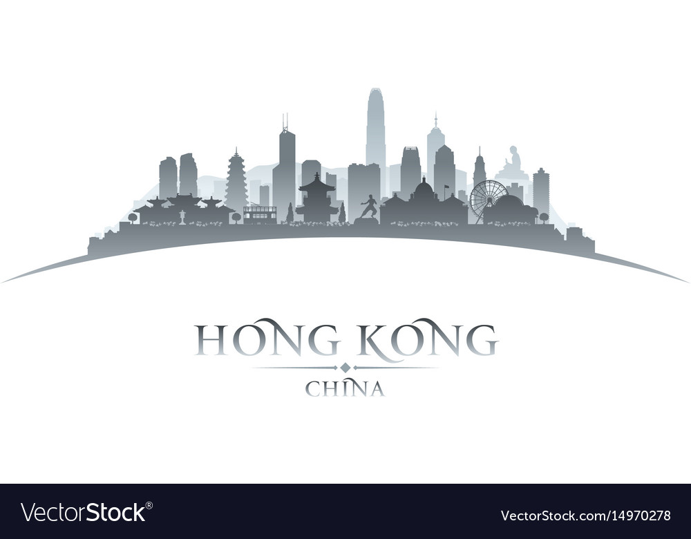 Hong kong china city skyline silhouette white vector image