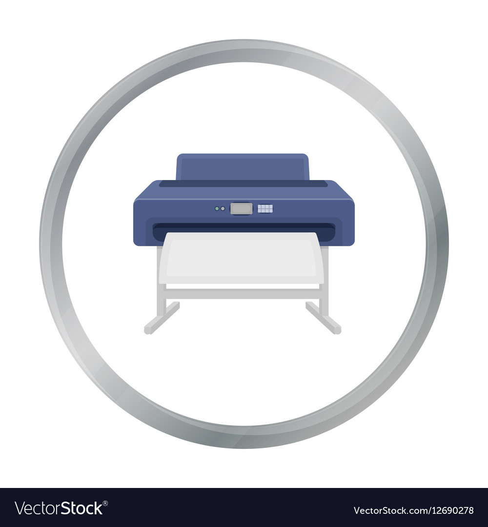Large format printer icon in cartoon style vector image