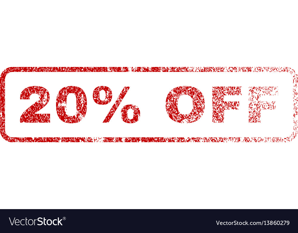 20 percent off rubber stamp vector image