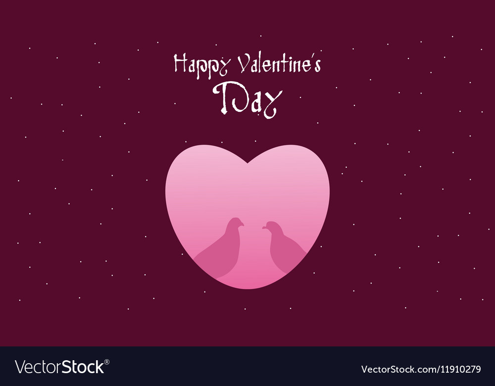 Dove with heart Happy Valentine Day Royalty Free Vector