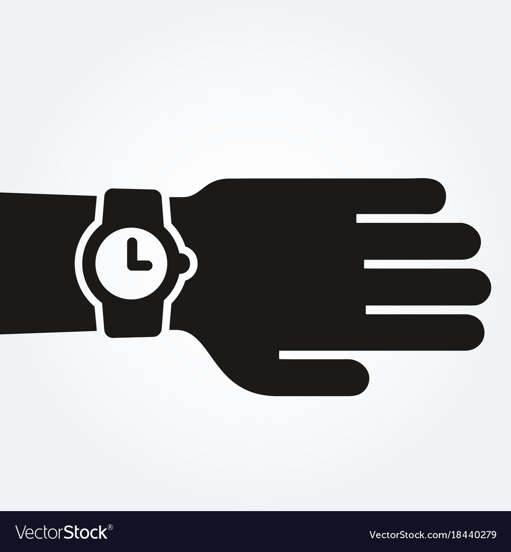 Watch on hand punctuality concept vector image
