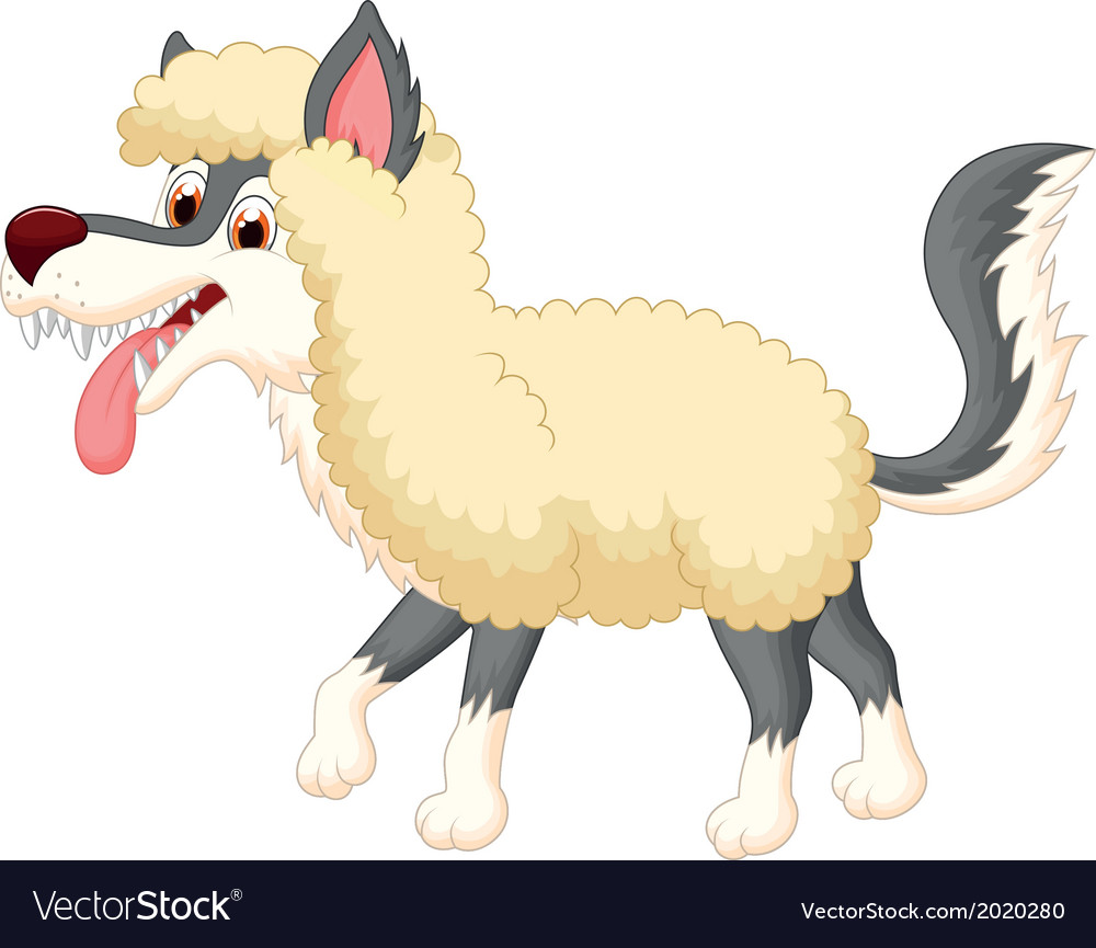 Cartoon Wolf in sheep clothing vector image
