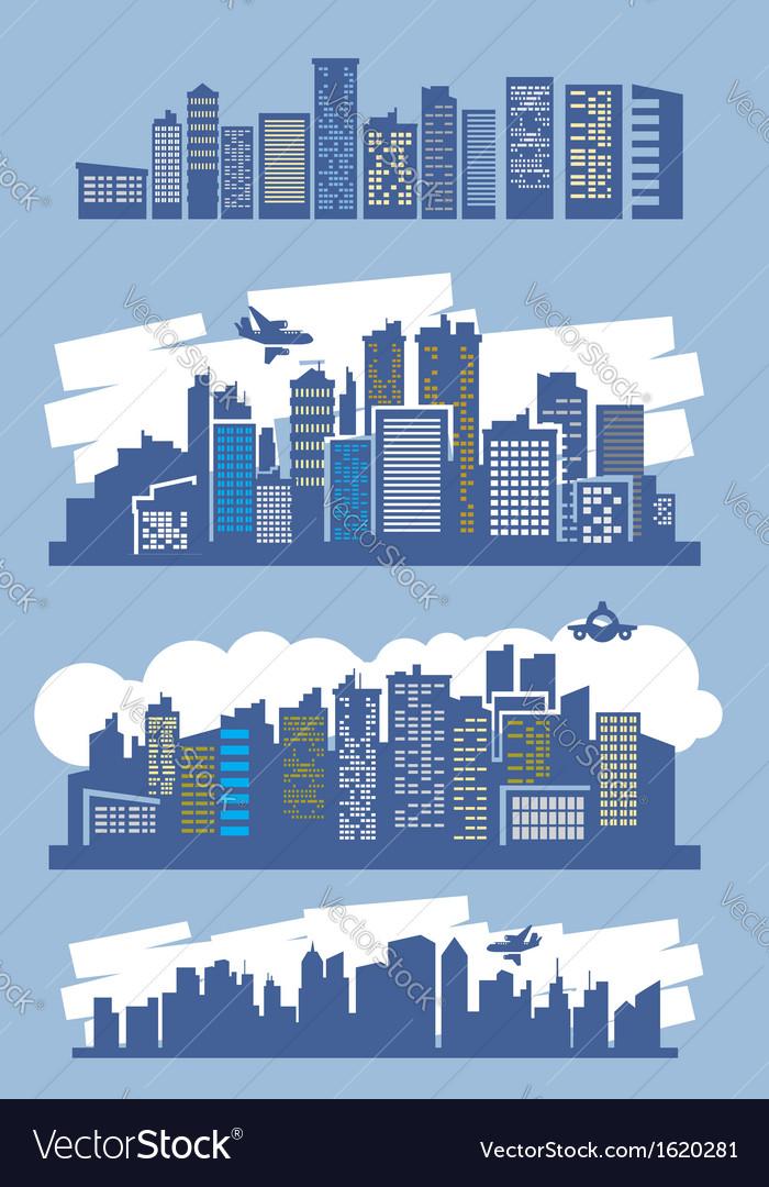Blue city vector image
