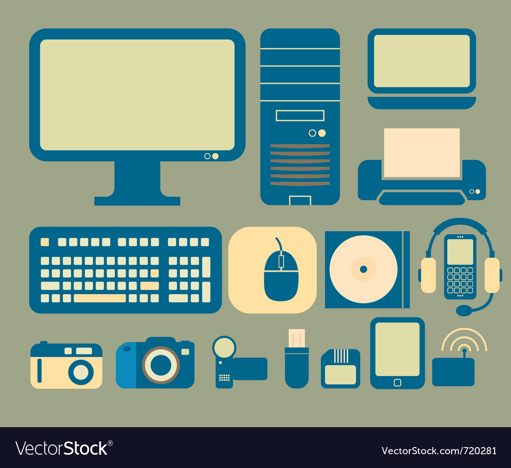 Computers and electronics icons vector image