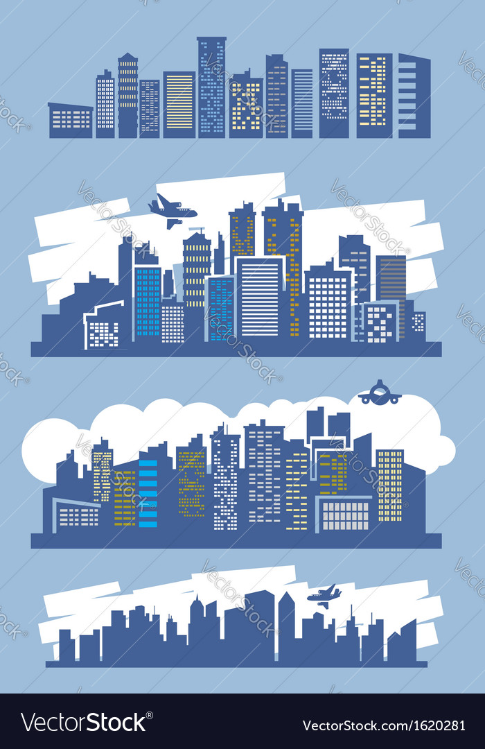 Blue city vector image