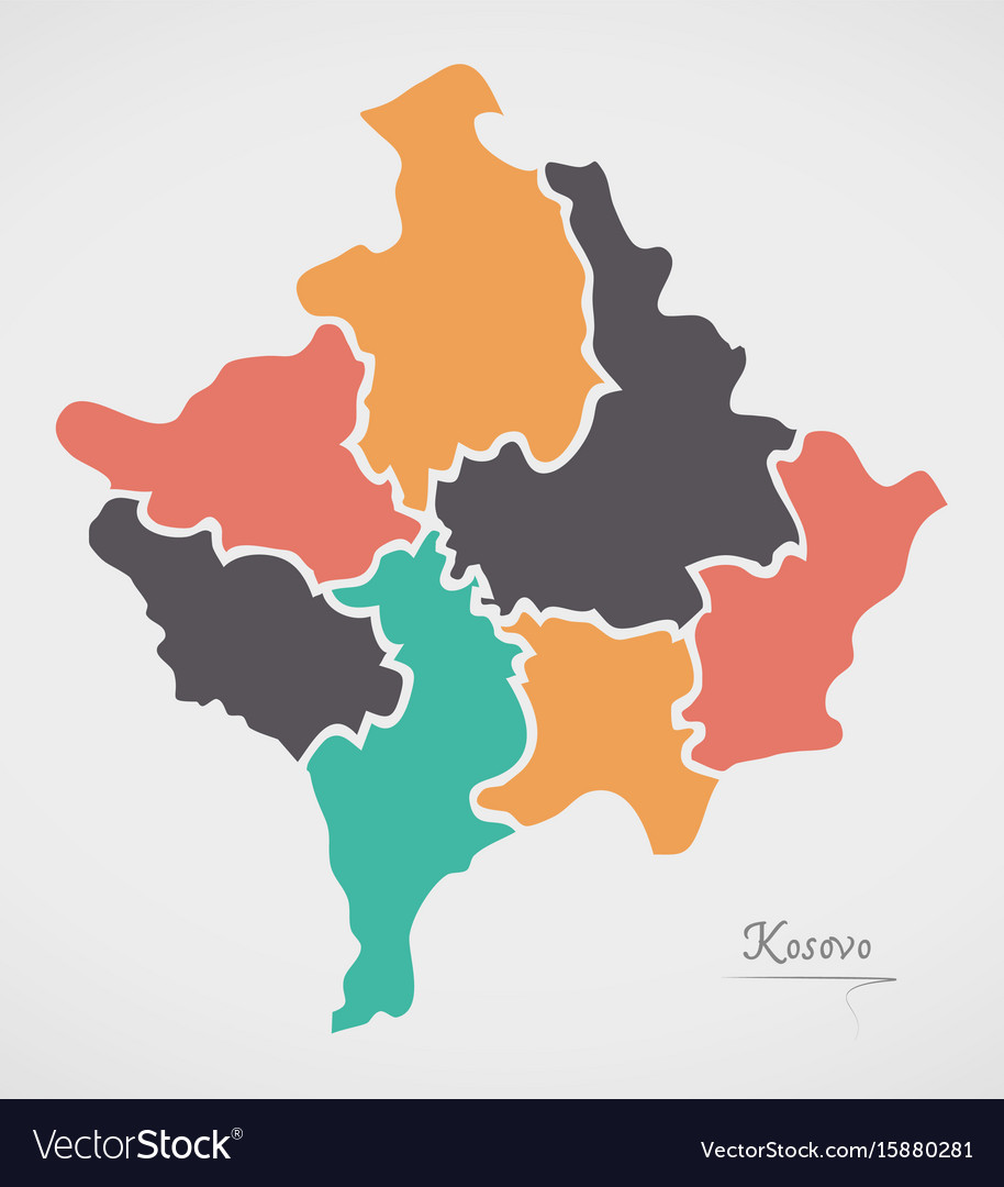 Kosovo Map With States And Modern Round Shapes Vector Image - Kosovo map hd pdf
