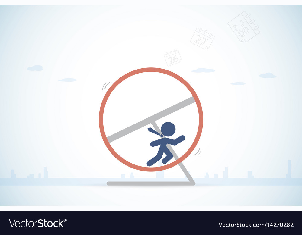 Businessman is running in a hamster wheel vector image