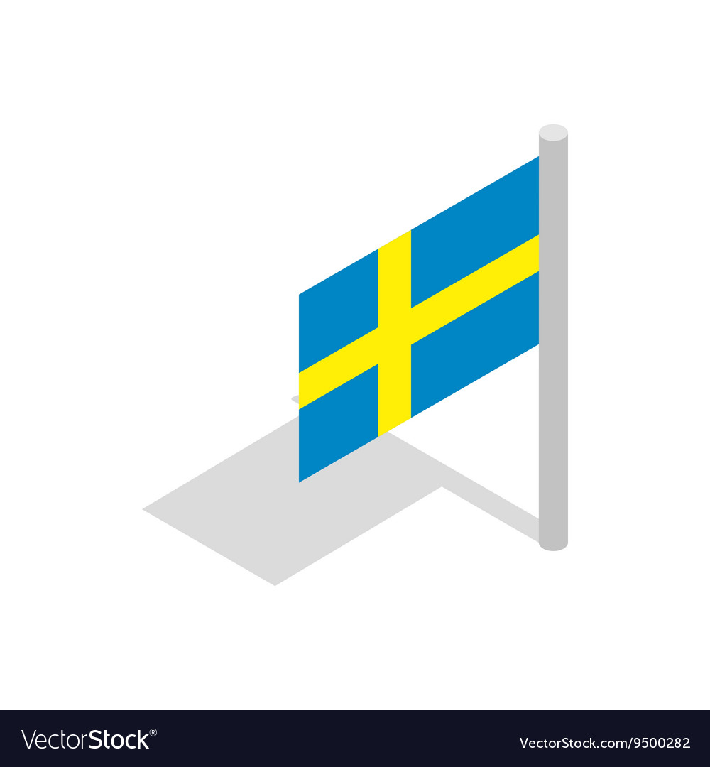 Flag of Sweden icon isometric 3d style vector image