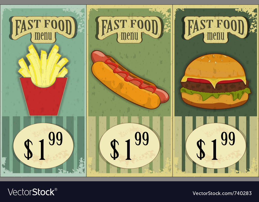 Vintage fast food labels vector image