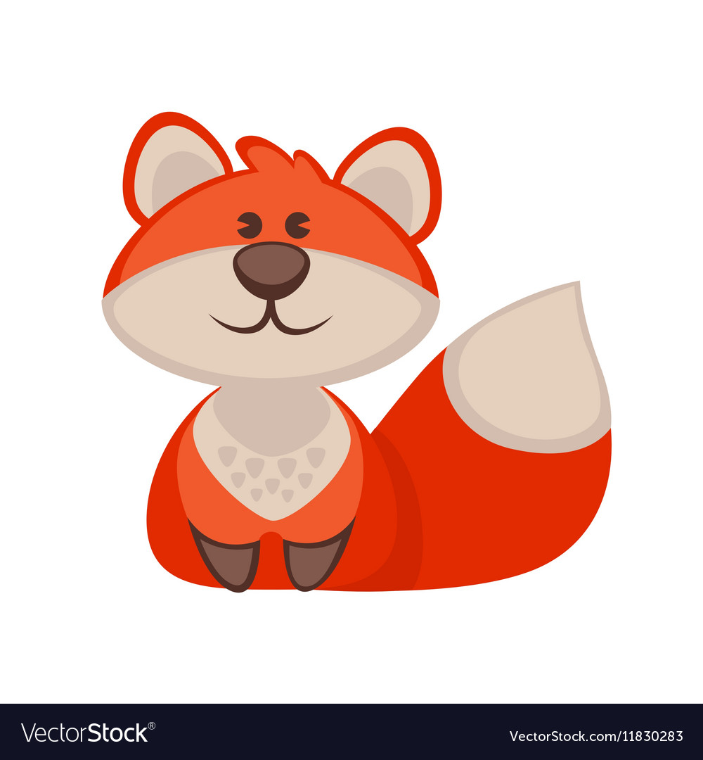 Fox funny cartoon character Cute icon vector image