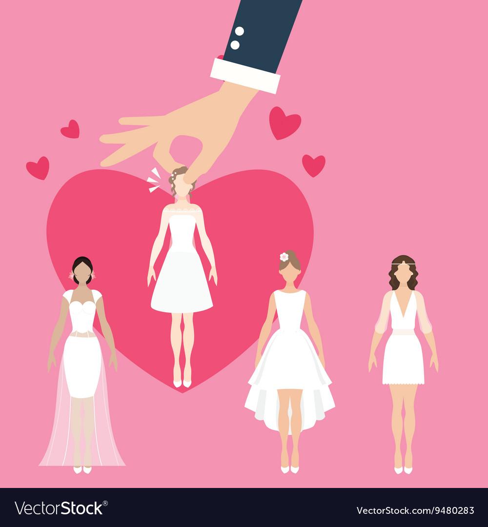 Man pick select girl as bride wife matrimonial vector image