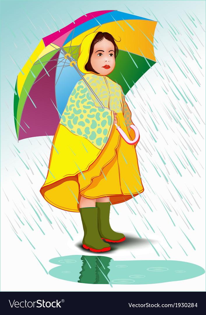 Little girl under umbrella vector image