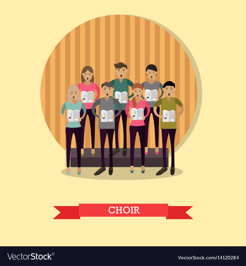 Singing choir in flat style vector image
