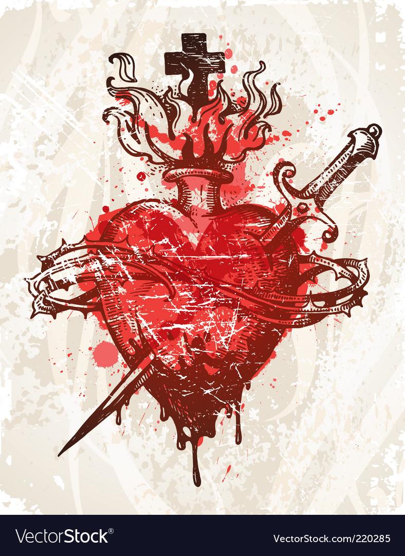 Grunge hand drawn heart vector image
