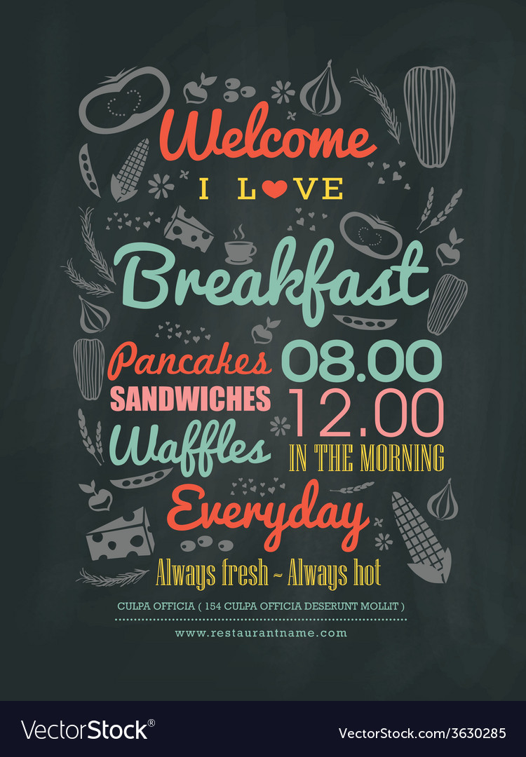 Breakfast cafe Menu typography on chalk board vector image