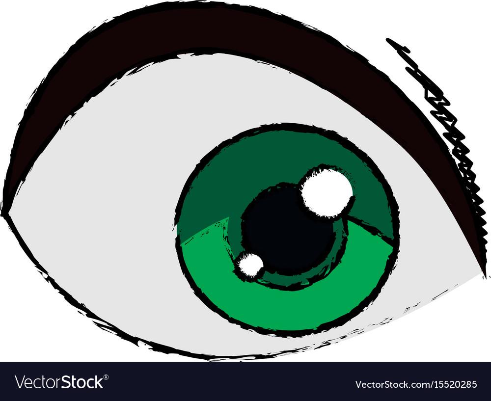 Cartoon green eye cartoon look vision vector image