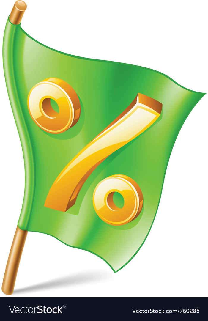 Percent sign on flag vector image