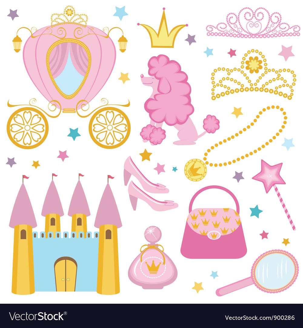 Cute princess set Vector Image