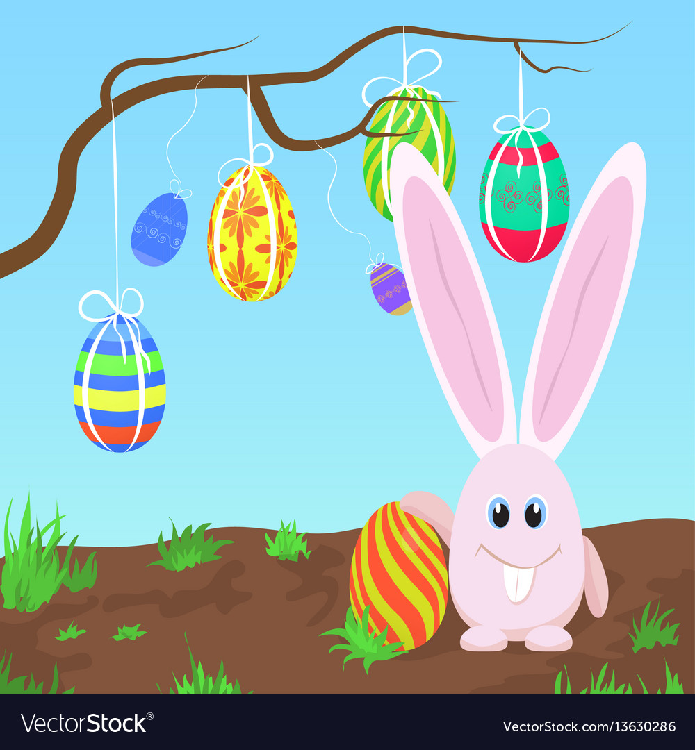 Adorable pink rabbit standing at the tree with vector image
