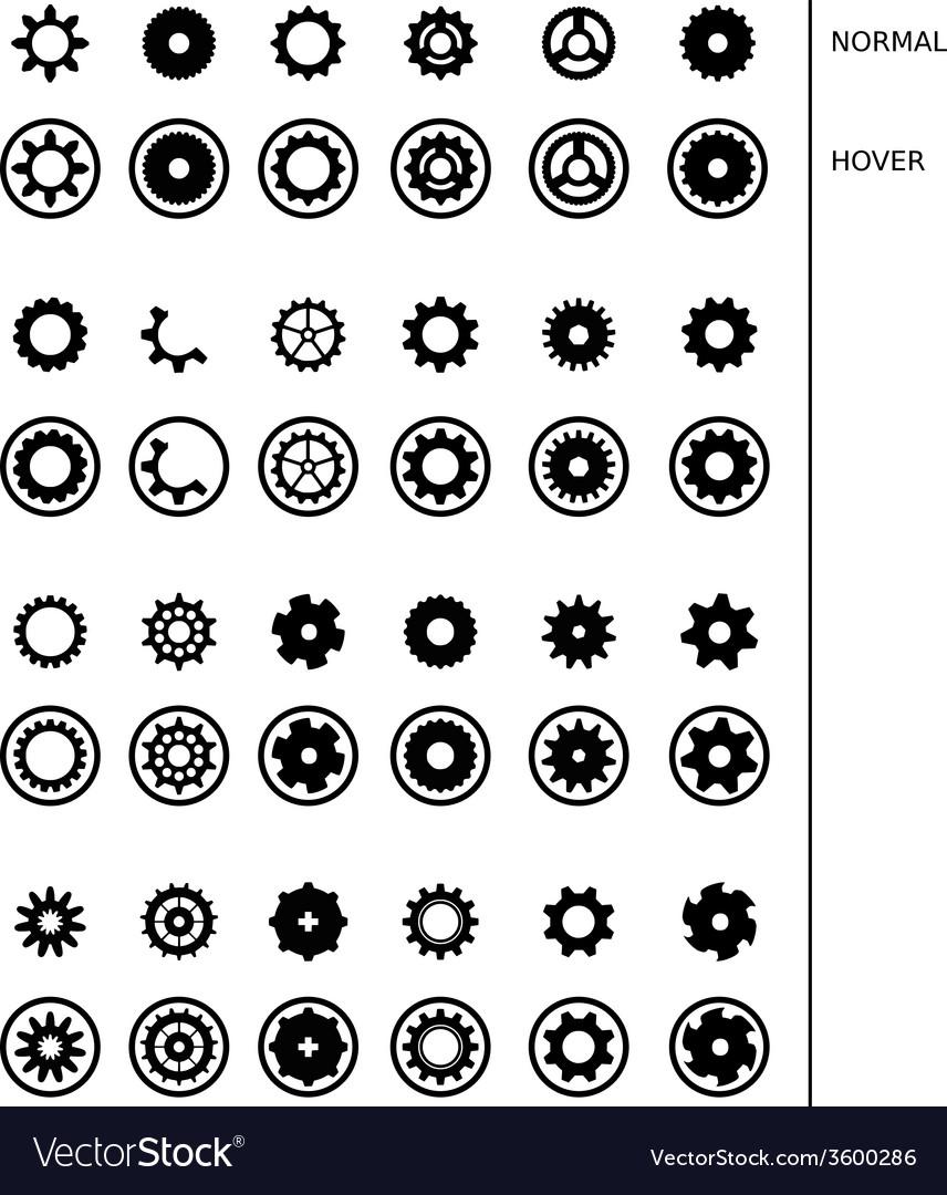 Gear wheels icons set vector image