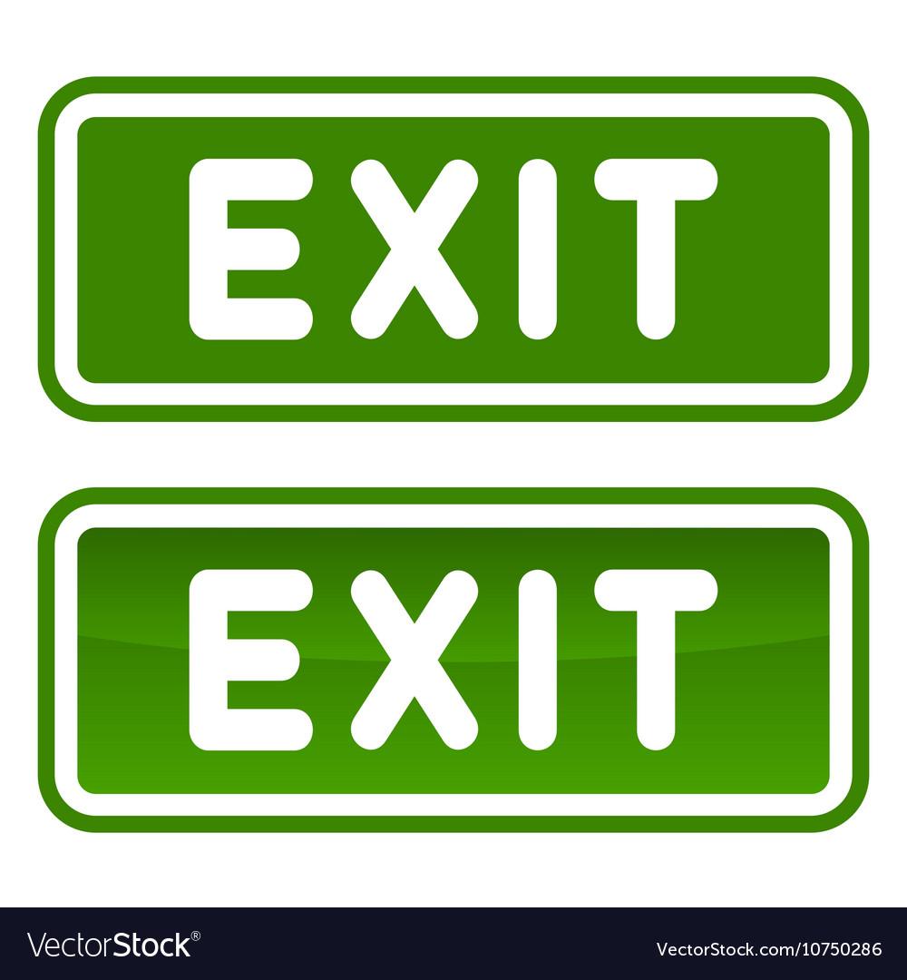 Green emergency exit sign set on white background vector image buycottarizona Images