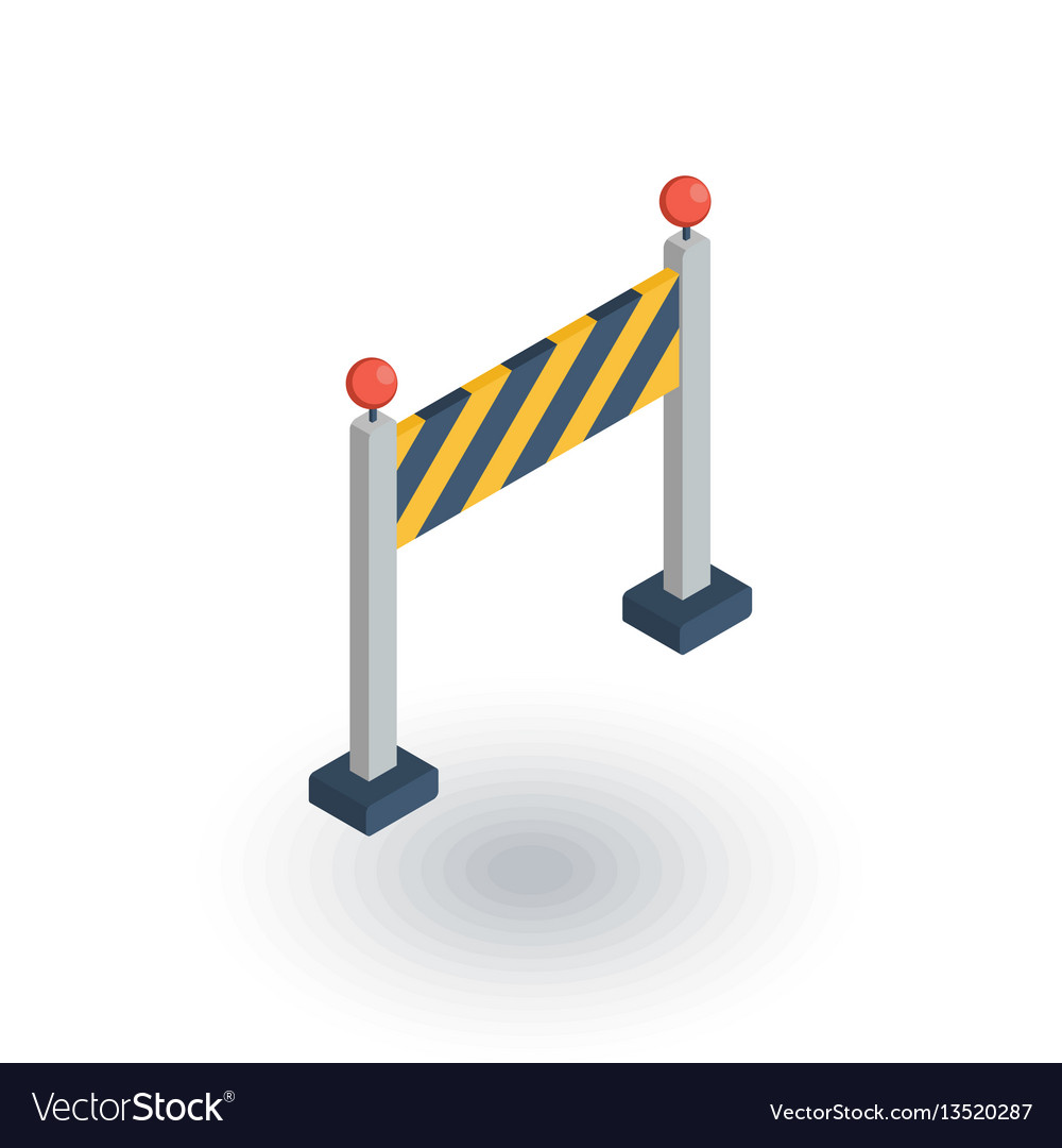 Fence light construction isometric flat icon 3d vector image