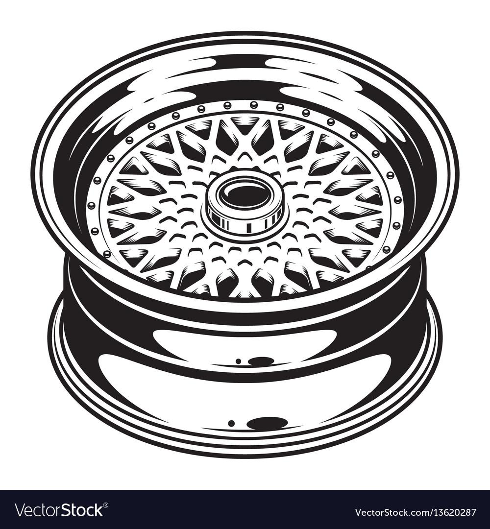 Isolated monochrome of car wheel rim vector image