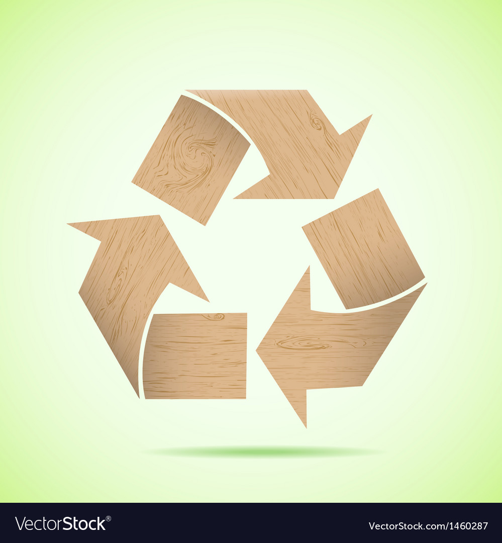 Wooden recycle icon vector image