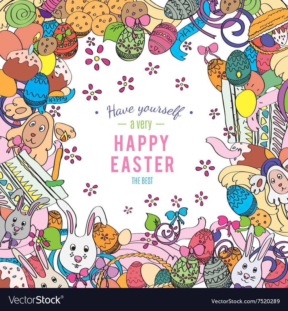 Awesome Happy Easter card in Royalty Free Vector Image VectorStock – Happy Easter Card