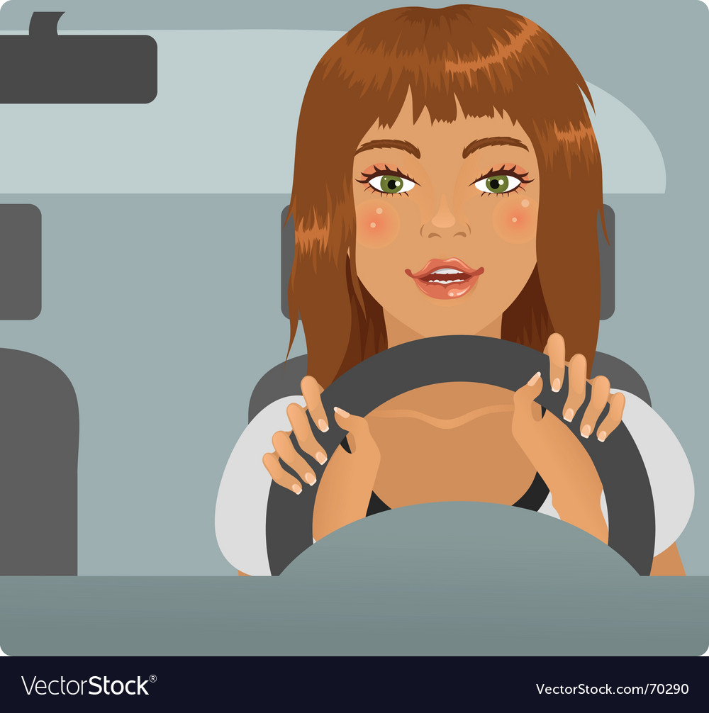 Driver girl vector image