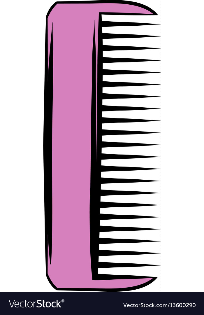 Pink plastic comb icon icon cartoon vector image