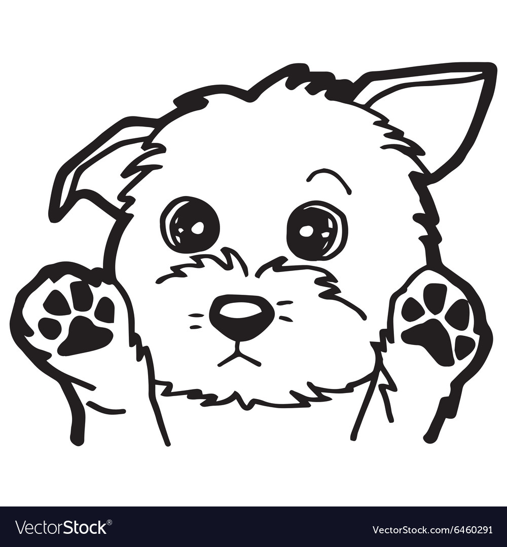 Black And White Cartoon Dog For Coloring Book Vector Image