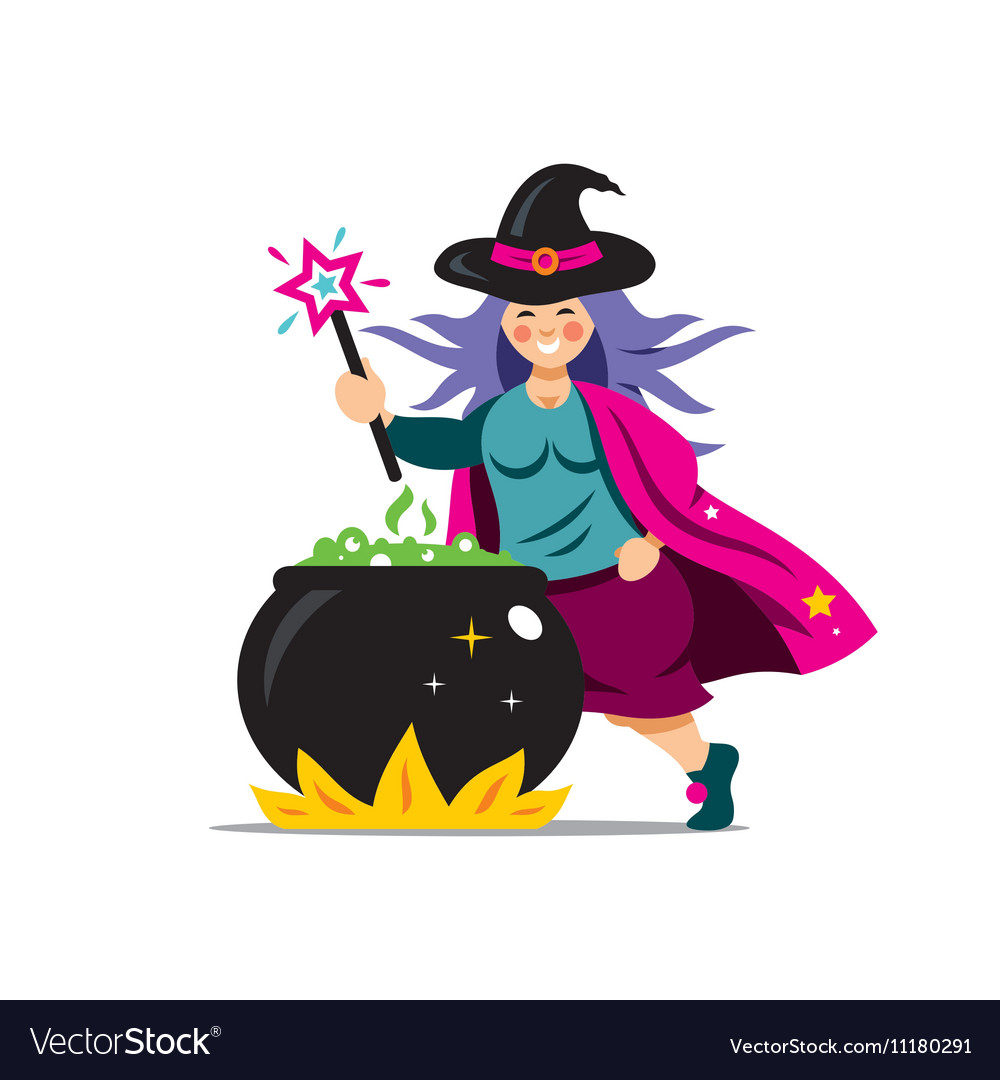 Halloween Witch and cauldron Cartoon vector image