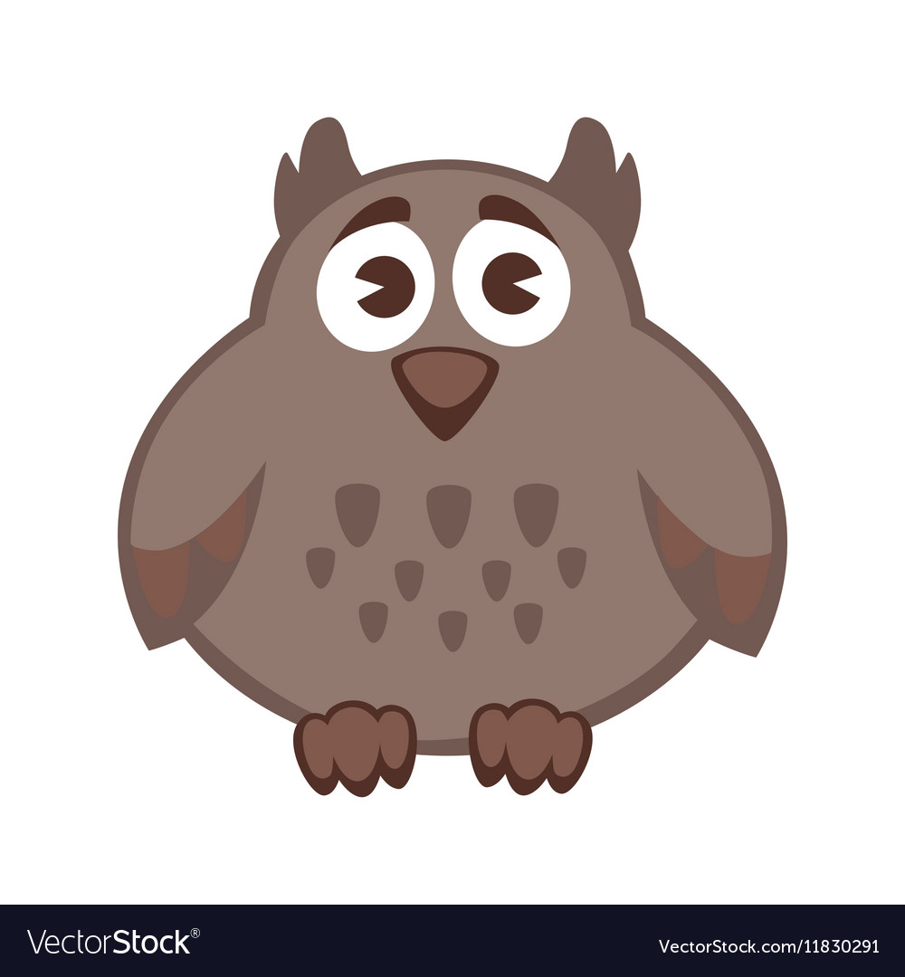 Owl funny cartoon character Cute icon vector image