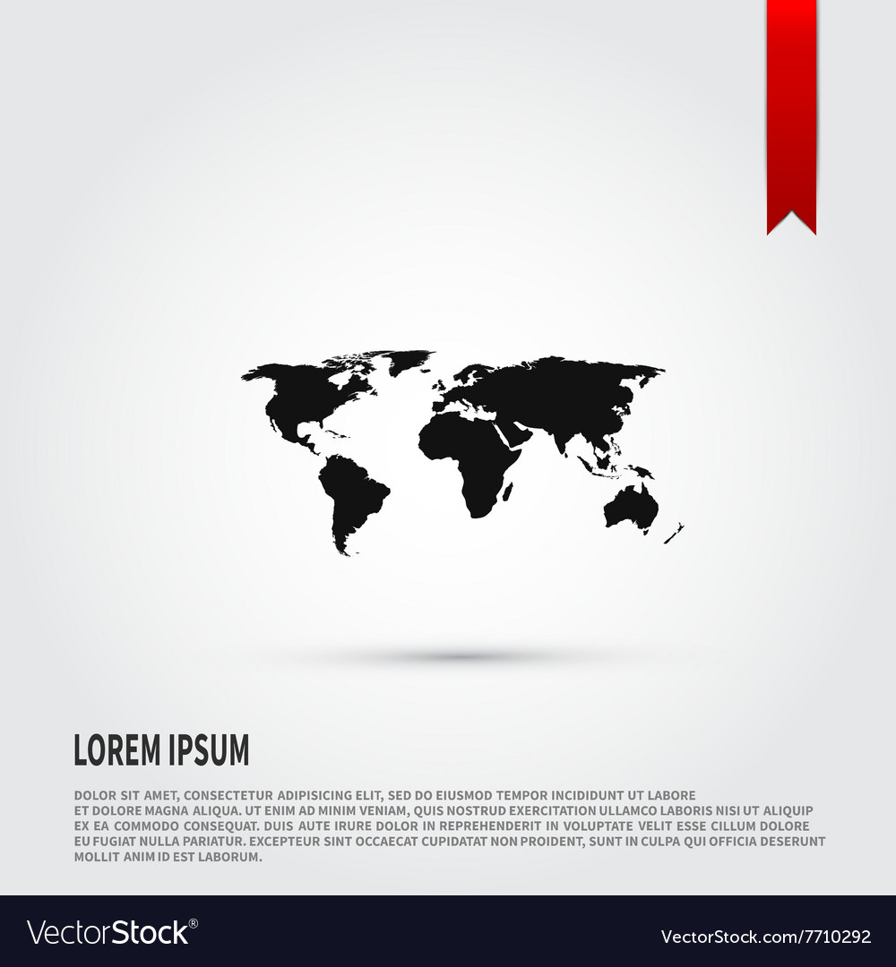 World map icon Flat design style Template for vector image